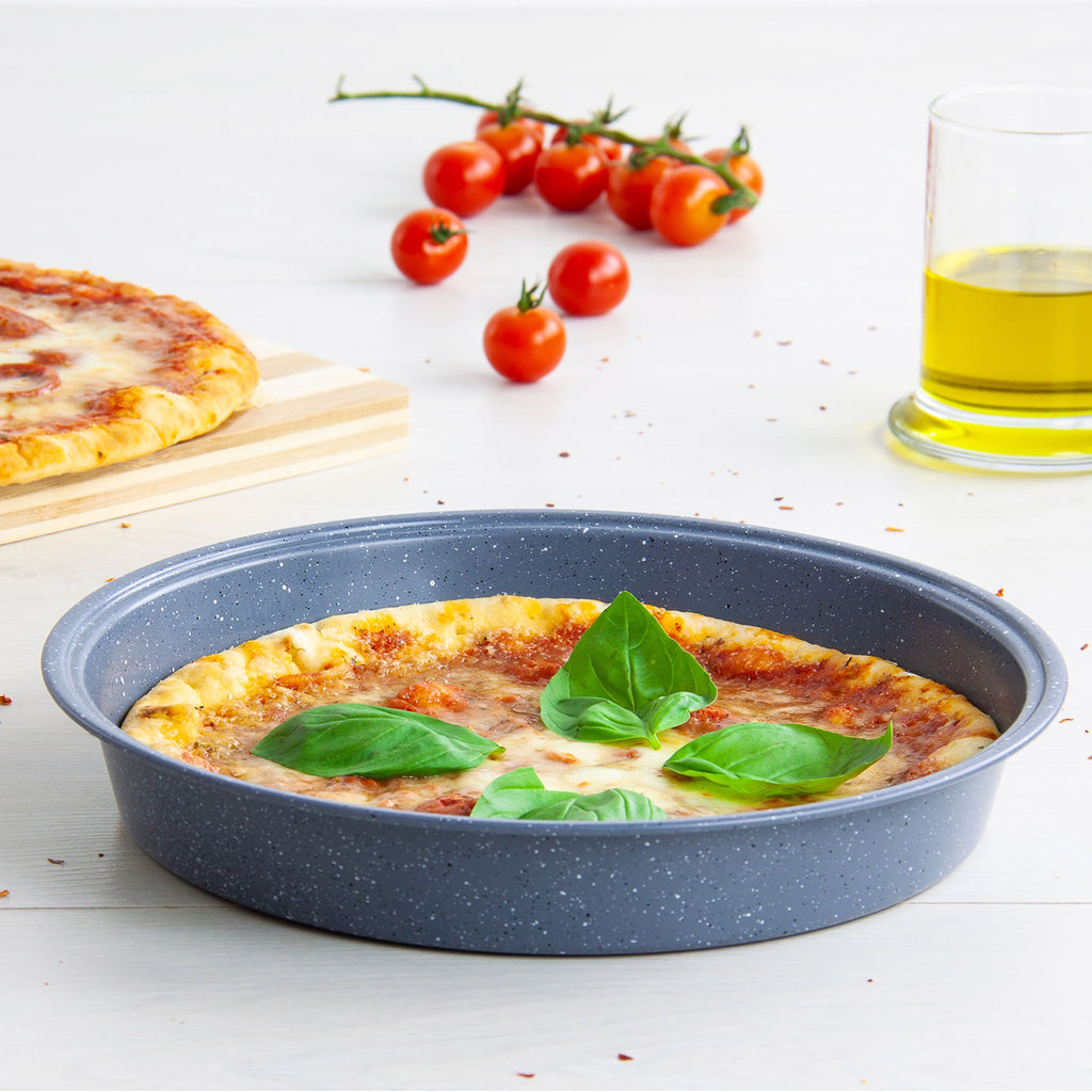 Non-stick Pizza Pan, Round Baking Tray - 24.5 cm, Grey