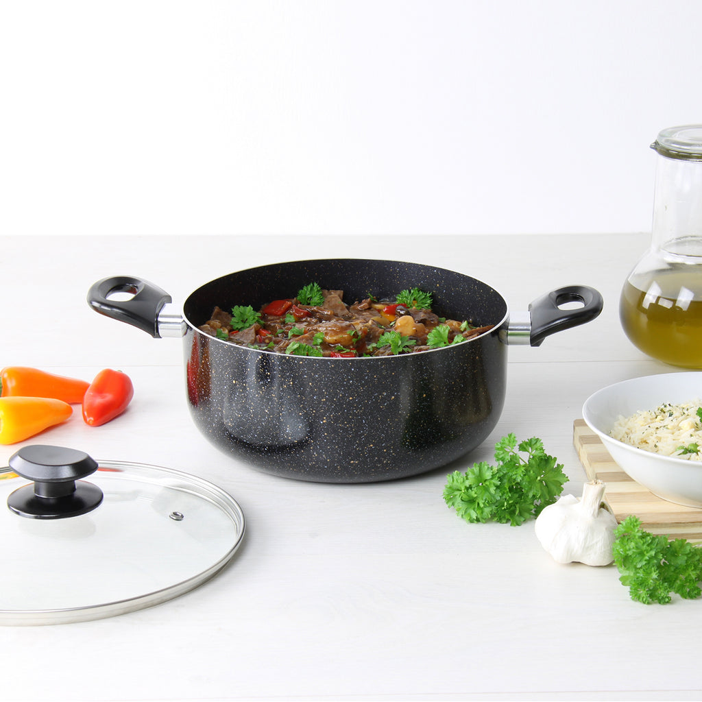 Una Die-cast Aluminium Non-Stick Stockpot with Marble Finish - 24 cm