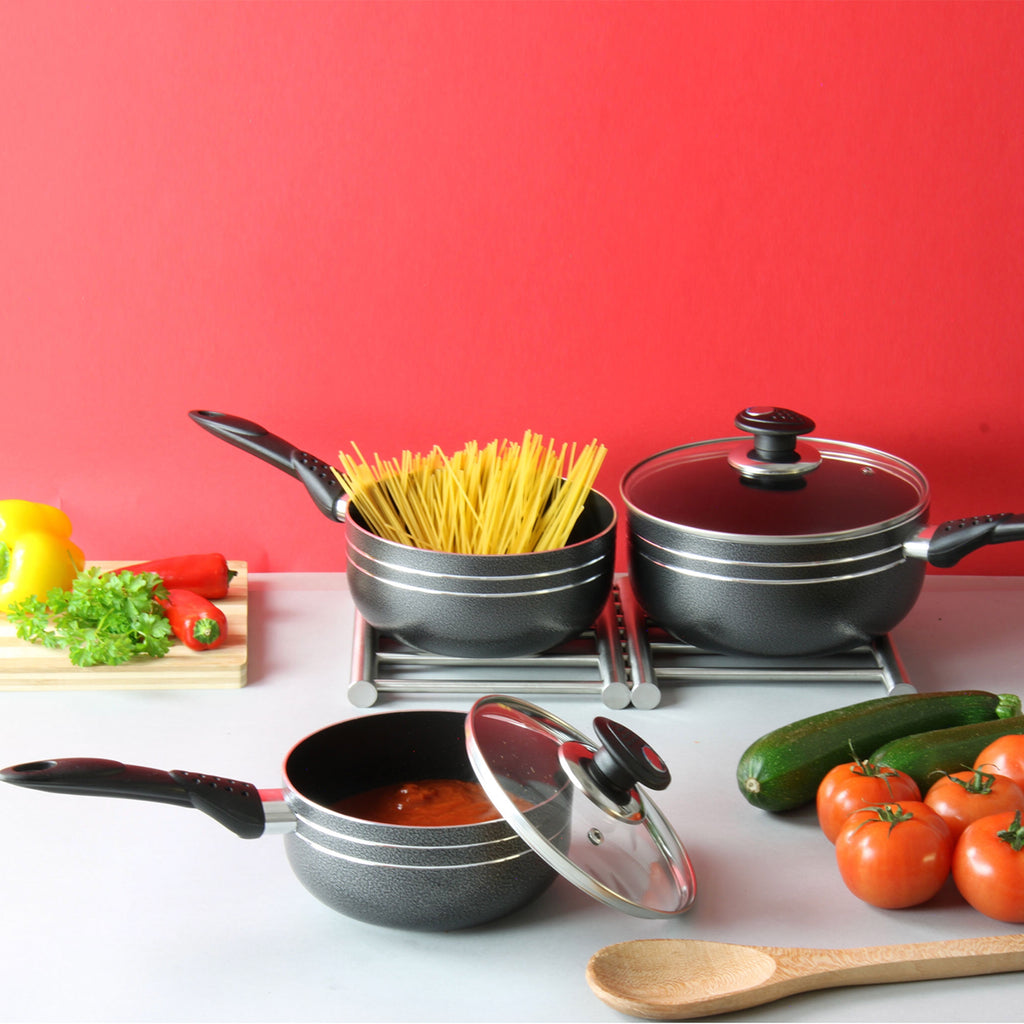 Una Non-stick Saucepan set 3 pcs Induction Base 22cm, 24cm & 26cm