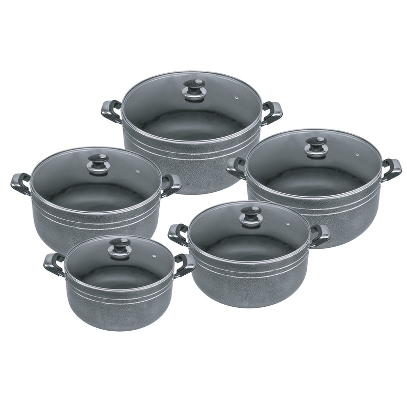 Gems Range Stainless Steel Casserole Set 3pc Stockpots With Lids - Black