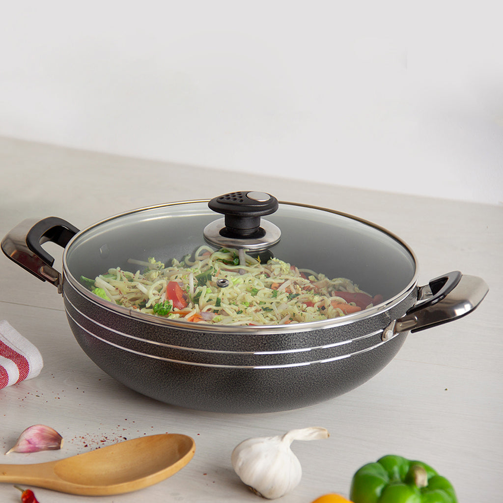 Una Non-stick Wok with Two Handles & Lid, Induction Base - 28 cm