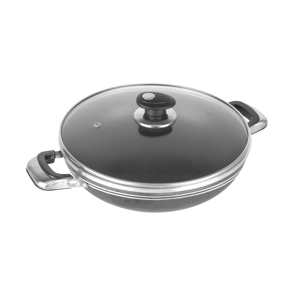 Una Non-stick Wok with Two Handles & Lid, Induction Base - 26 cm