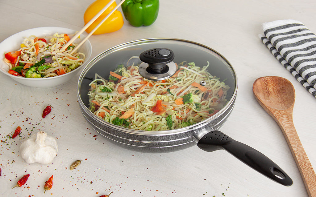 Una Non-stick Wok With Long Handle & Lid, Induction Base - 24 cm
