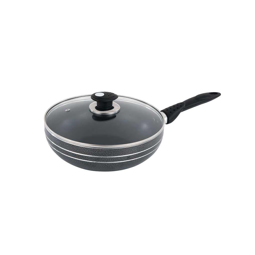 Una Non-stick Wok With Long Handle & Lid, Induction Base - 24cm