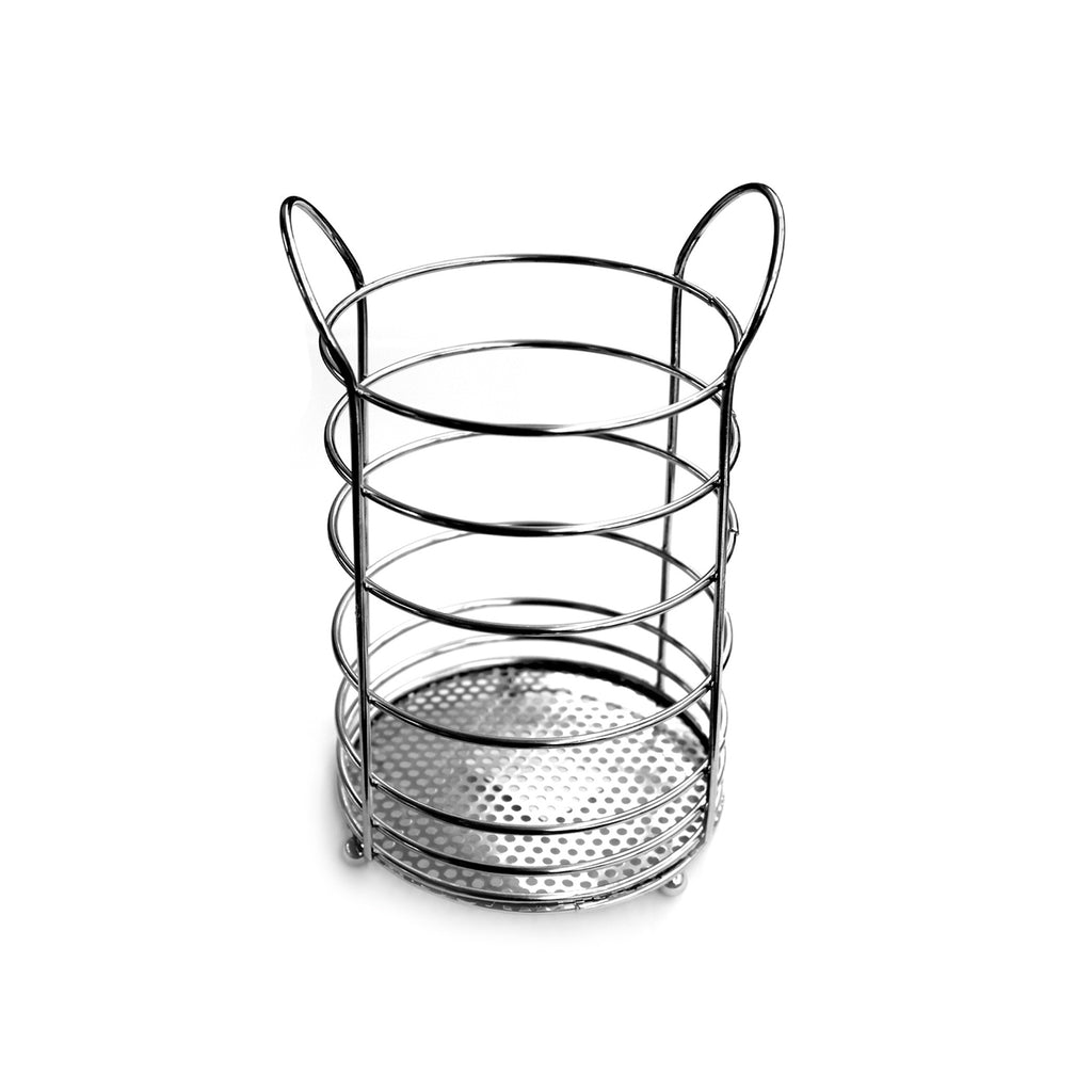 Chrome Round Utensils Holder Kitchen Gadget Organiser Stand - 11cm
