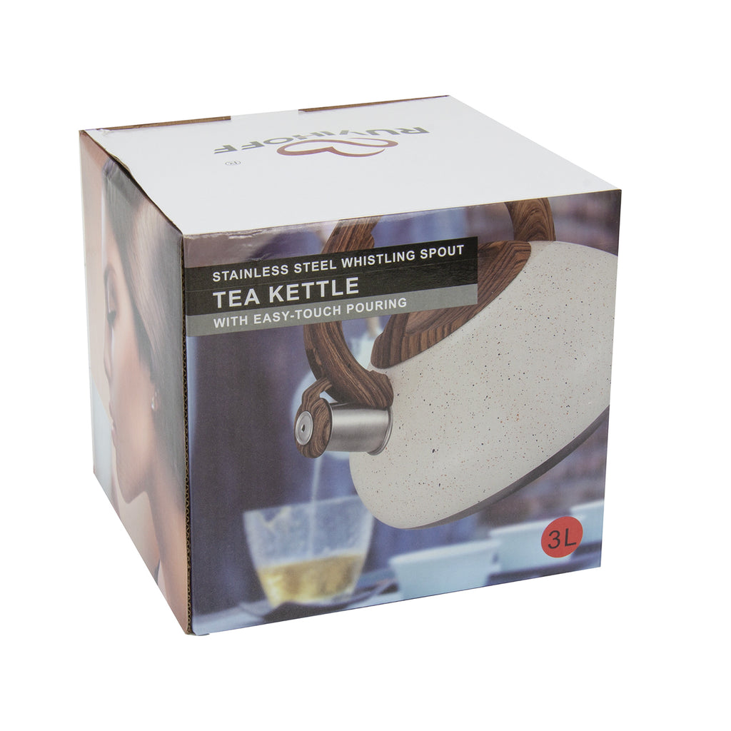 Whistling Kettle in Retro Design Easy Touch Pouring,  3L - White