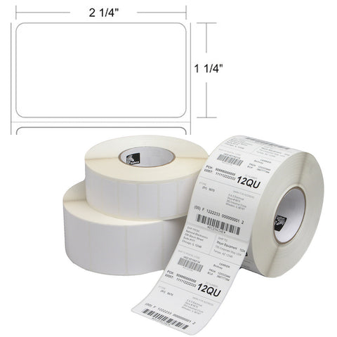 "Zebra 2.25"" x 1.25"" Direct Thermal Barcode Labels"