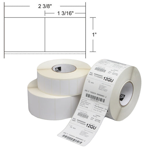 "Zebra 2.375"" X 1"" Removable Direct Thermal Barcode Labels"