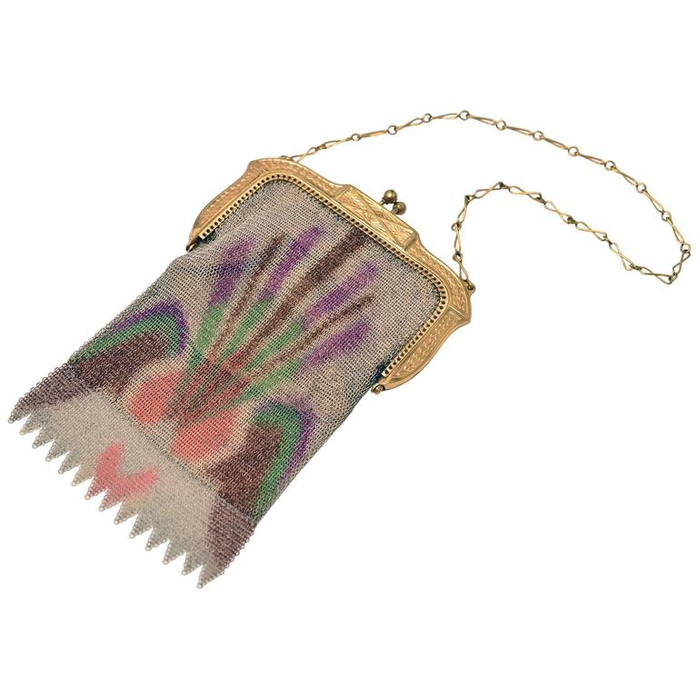 1930s Whiting and Davis Art Deco Dresden Multi-Color Mesh Bag