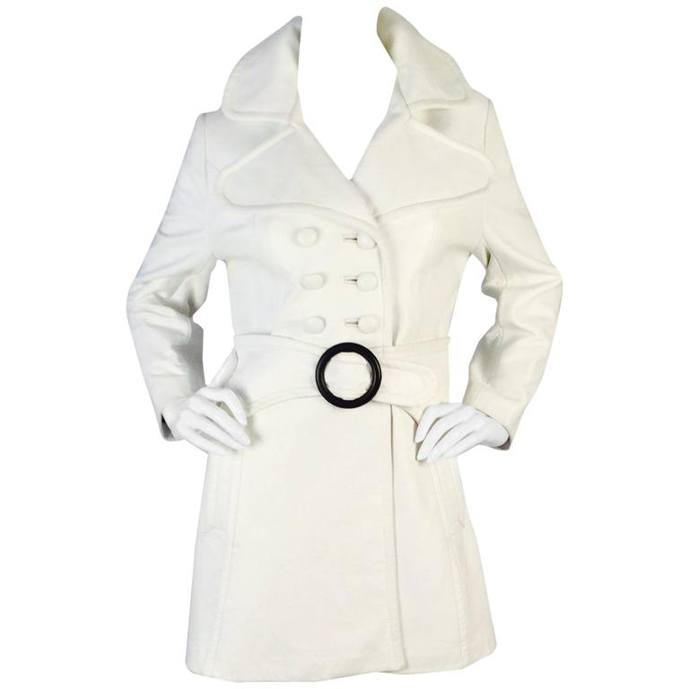 1960s Mod White Leather Trench Coat
