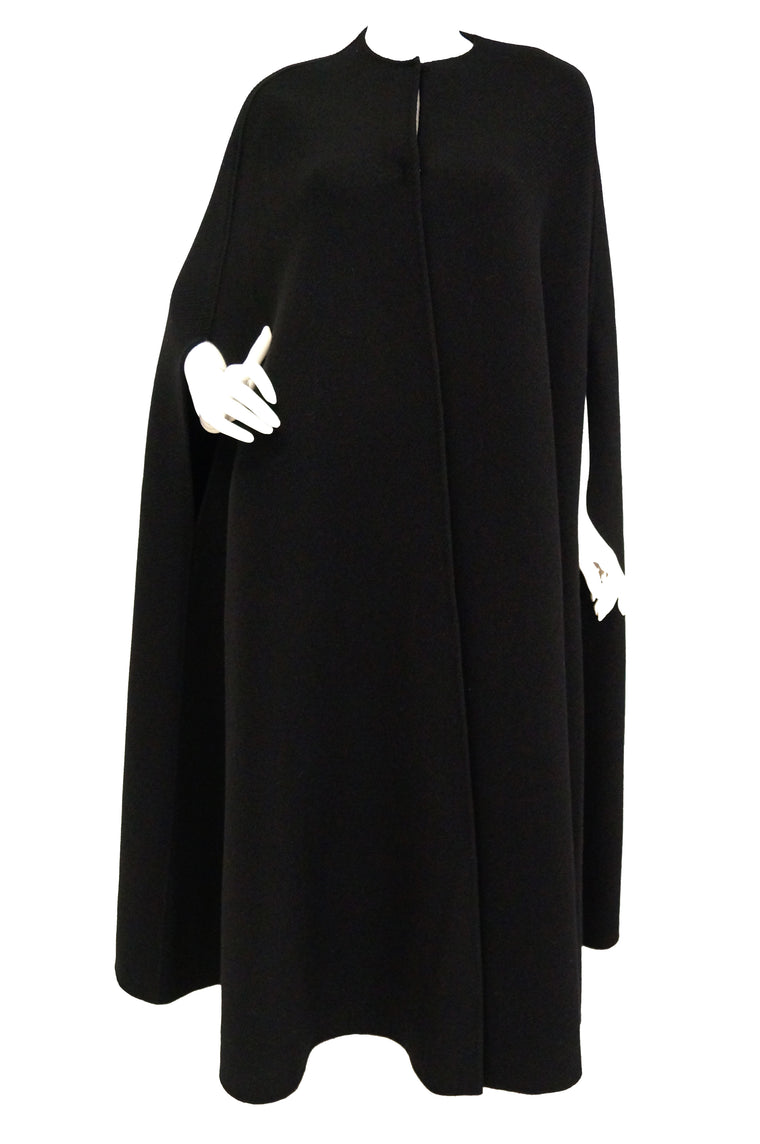 Rare 1940s Madame Gres Couture Floor Length Black Wool Cloak