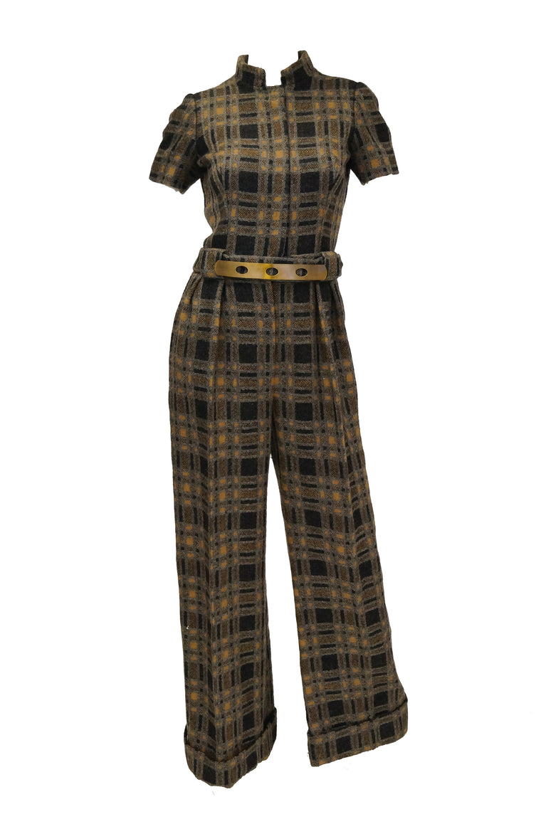 1970s Cardinali Sample Tweed Jumpsuit and Hat 2-4