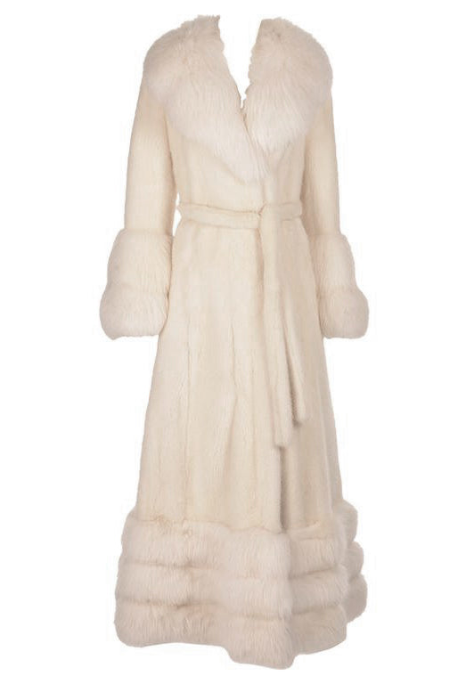 Vintage Snow White Mink and Angora Rabbit Fur Coat