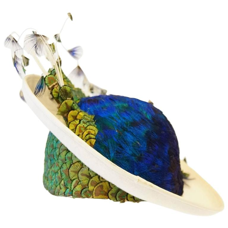 1950s Jack McConnell Peacock Feather Rhinestone Hat