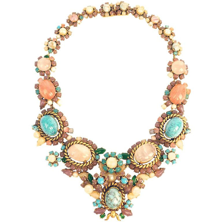 1960s Dior Haute Couture Made in Germany Pastel Cabochon Necklace
