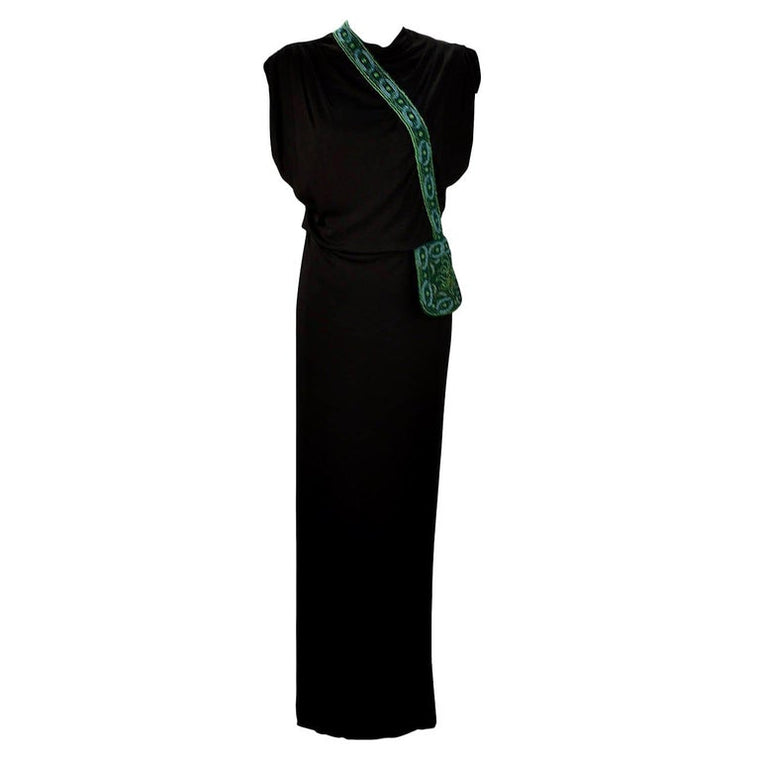 1940s Anita Modes Black Dress with Green Beaded and Appliquéd Purse