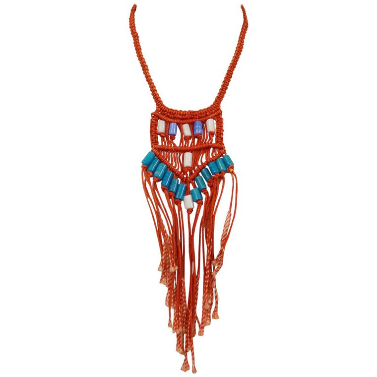 1970s Custom Macrame Red and Blue Ceramic Beaded Necklace