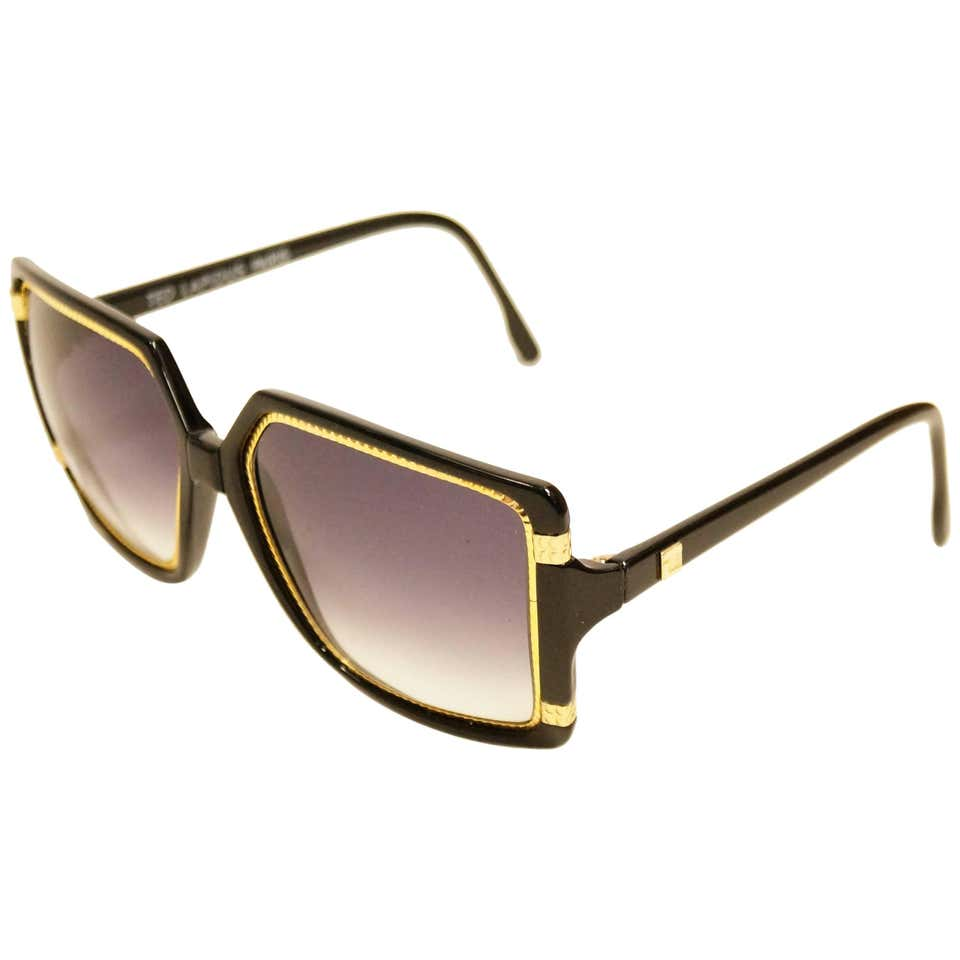 1970s Ted Lapidus TL 15 01 Gold, Black, Purple Gradient Sunglasses