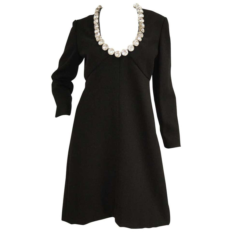 1960s Donald Brooks Black Cocktail Dress with Riviera Rhinestone Neckline
