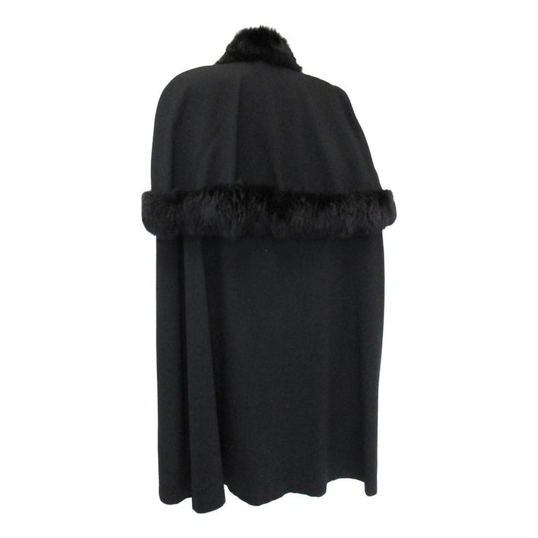 Vintage George Simonton Black Cape with Fur Trim Capelet Detail