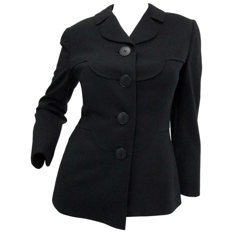 1940s Irene Lentz Black Wool Blazer with Scallop Detail