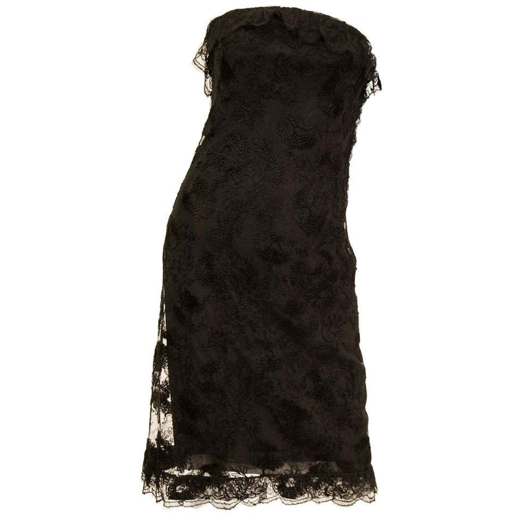 1957 Haute Couture Balenciaga Strapless Black Riechers Marescot Lace Dress