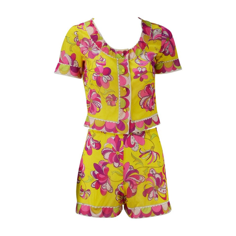1960s Emilio Pucci for Formfit Rodgers Yellow and Pink Lounge Short Set