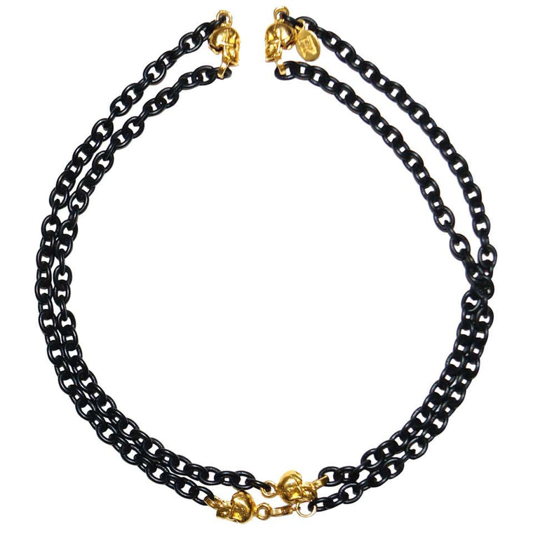 Knight & Hammer Gold Tone Skull and Black Matt Enamel Chain Necklace