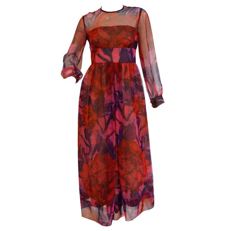 1960s Dynasty Sheer Raspberry Silk Floral Evening Dress