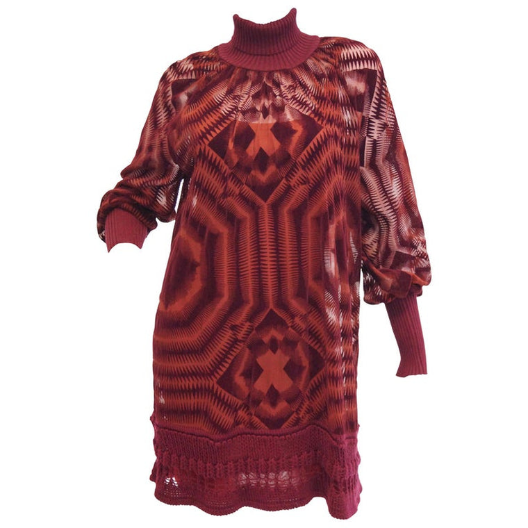 1990s Jean Paul Gaultier Sheer Silk Devore Red Velvet & Knit Dress / Tunic