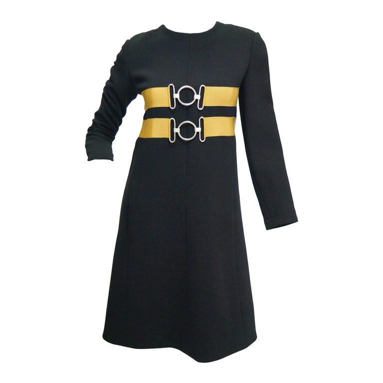 1960s Jeanne Lanvin Designed Black Wool Mod Dress with Yellow Grosgrain Buckles
