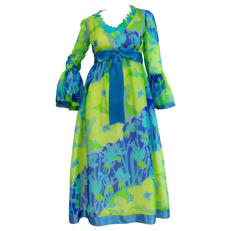 1960s Mollie Parnis Blue and Green Floral Chiffon Maxi Dress