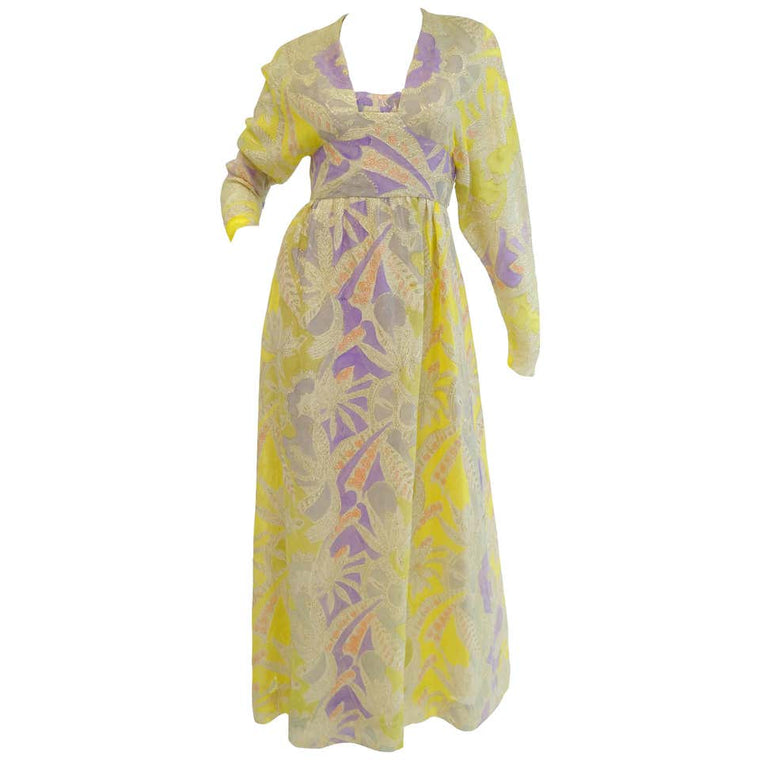 1960s Mollie Parnis Purple & Yellow Floral Evening Dress with Gold Lame Detail