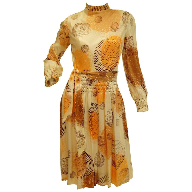 1960s Amber Silk Op Art Cocktail Dress and Vest