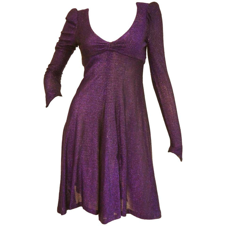 Classic 1970s Biba by Barbara Hulanicki Purple Metallic Lame Party Dress