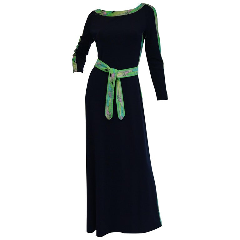 1960s Leonard Black Knit Maxi Dress with Green Floral Contrast