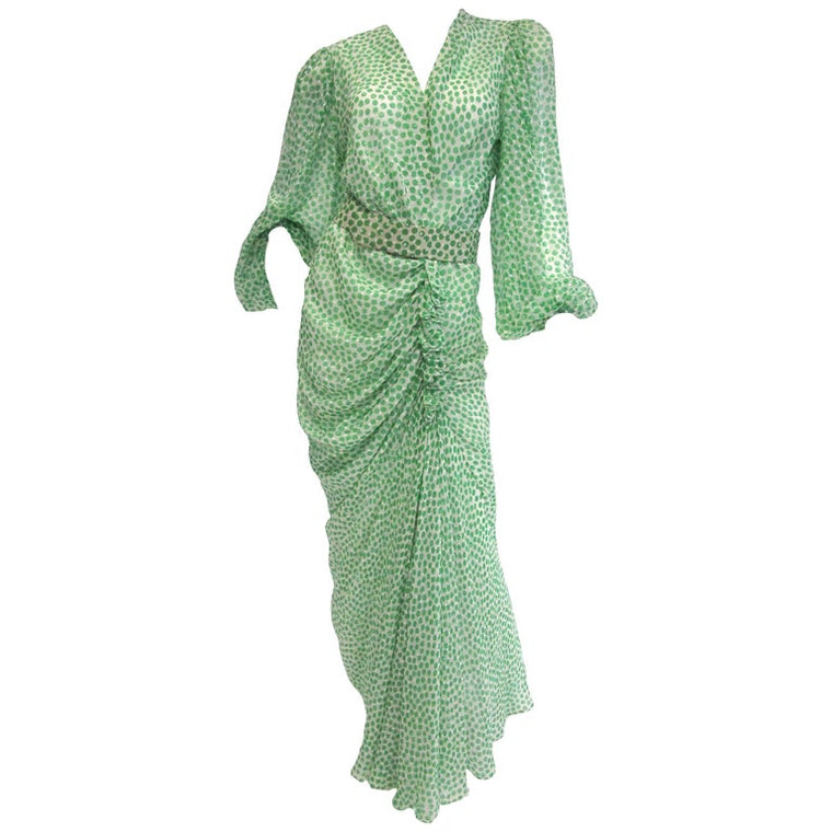 1990s Oscar de la Renta Green & White Silk Polka Dot Dress