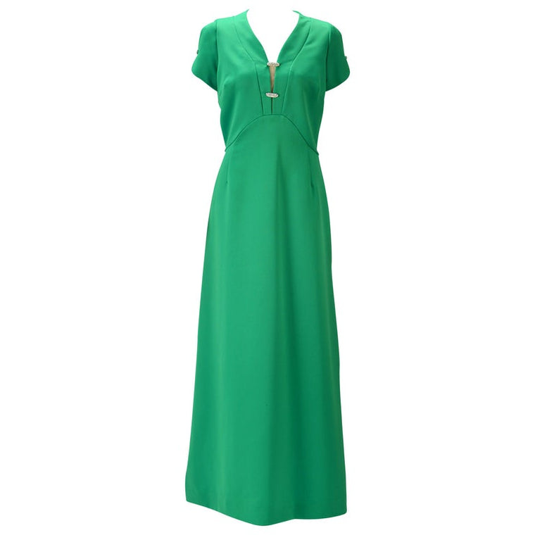 1960s Helen Bass Kelly Green Party Dress
