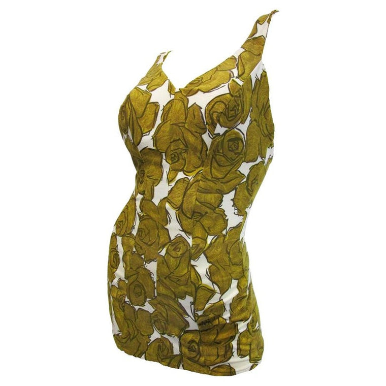 1950's Rose Marie Reid White and Gold Cotton Floral Bathing Suit