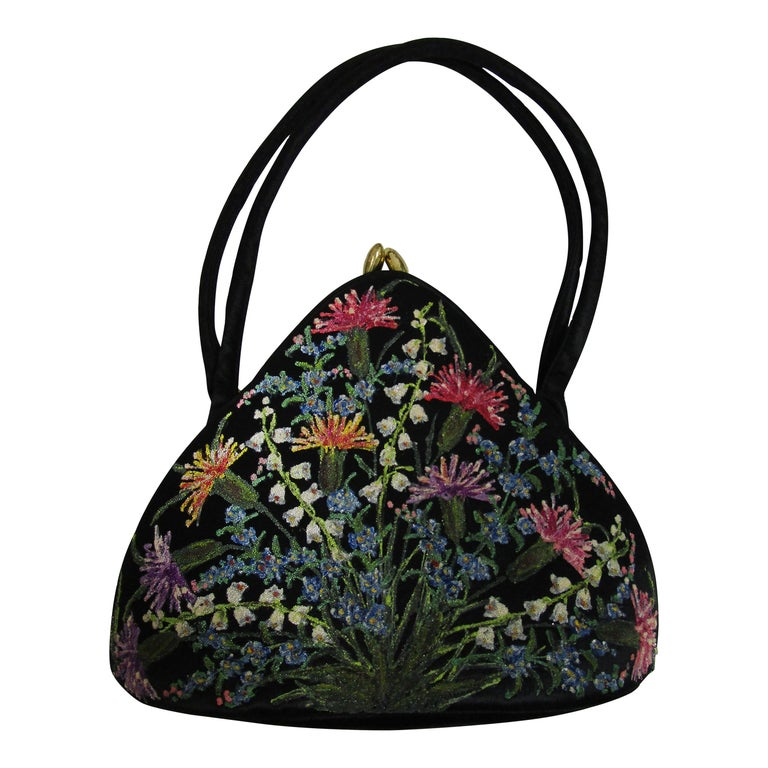 "1950's Black Satin Floral ""WaldyBag"" Hand Painted and Beaded in England"