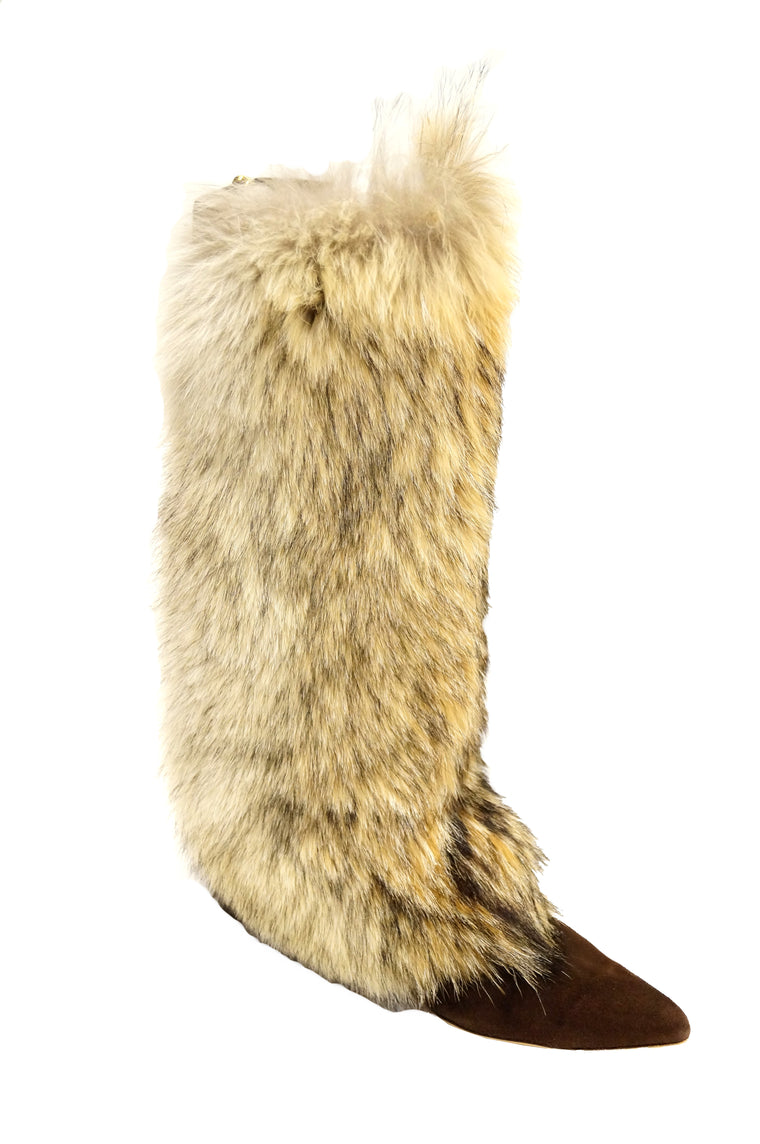 Oscar de la Renta Blonde Fox Fur and Brown Suede Boots