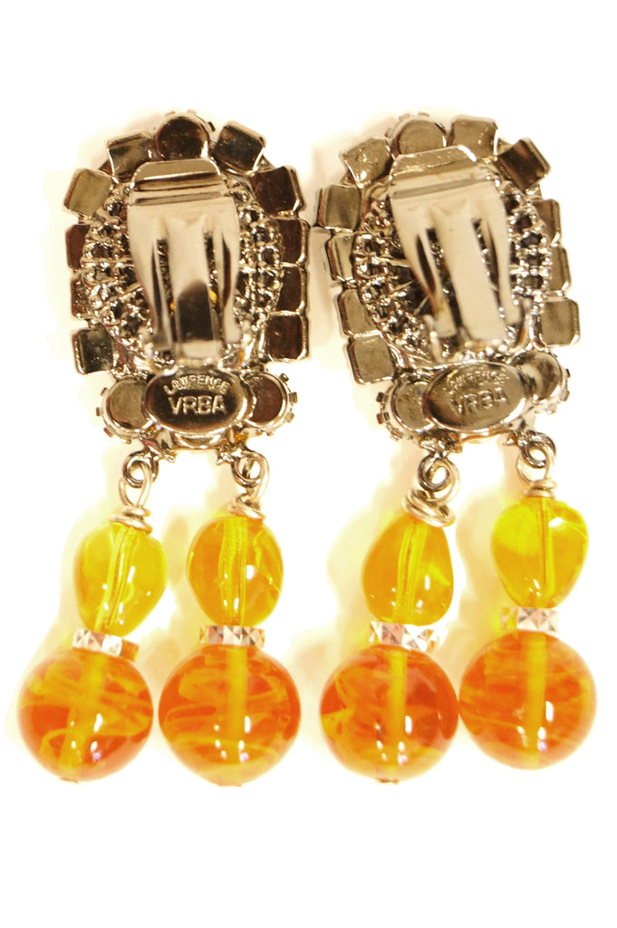 Lawrence Vrba Citrine Glass Statement Necklace and Earrings Set