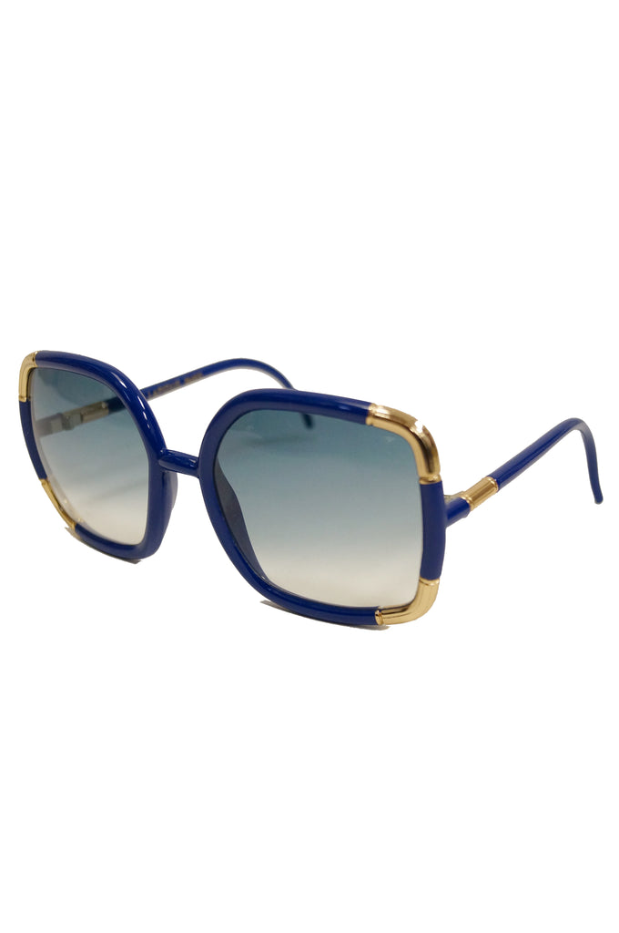 1970s Ted Lapidus Sunglasses Framed in Rare Royal Blue and Gold