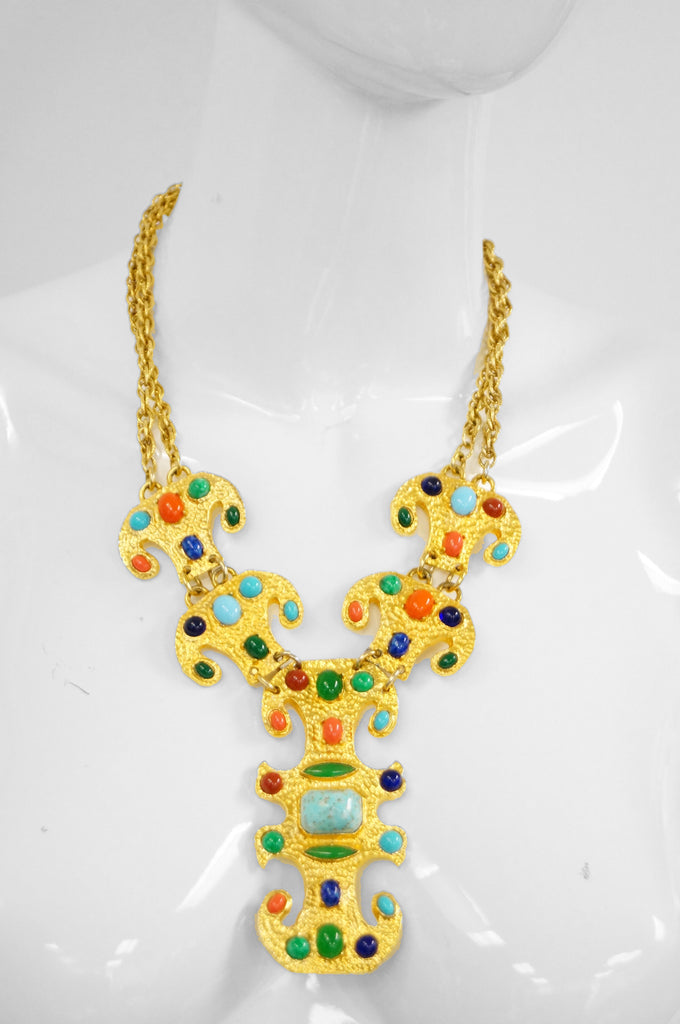 1970s Donald Stannard Cabochon Key Necklace