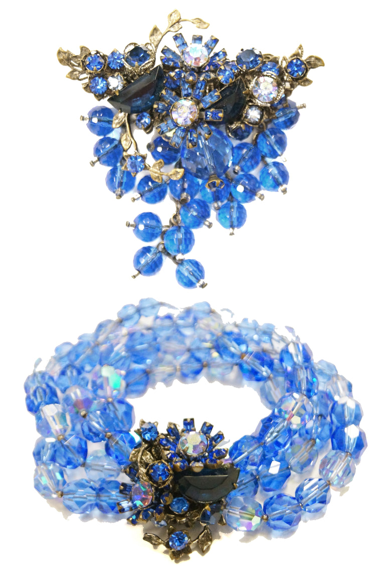 1950s DeMario Blue Beaded Floral Brooch and Bracelet Set