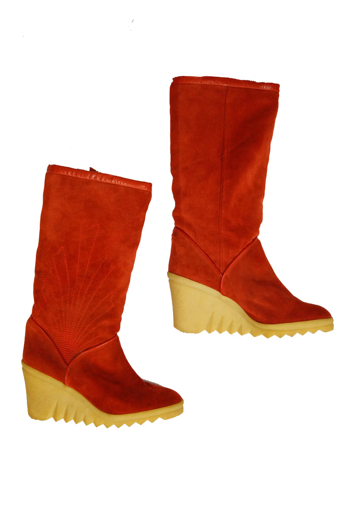 1970s Charles Jourdan Red Suede Wedge Sunrise Stitch Boots
