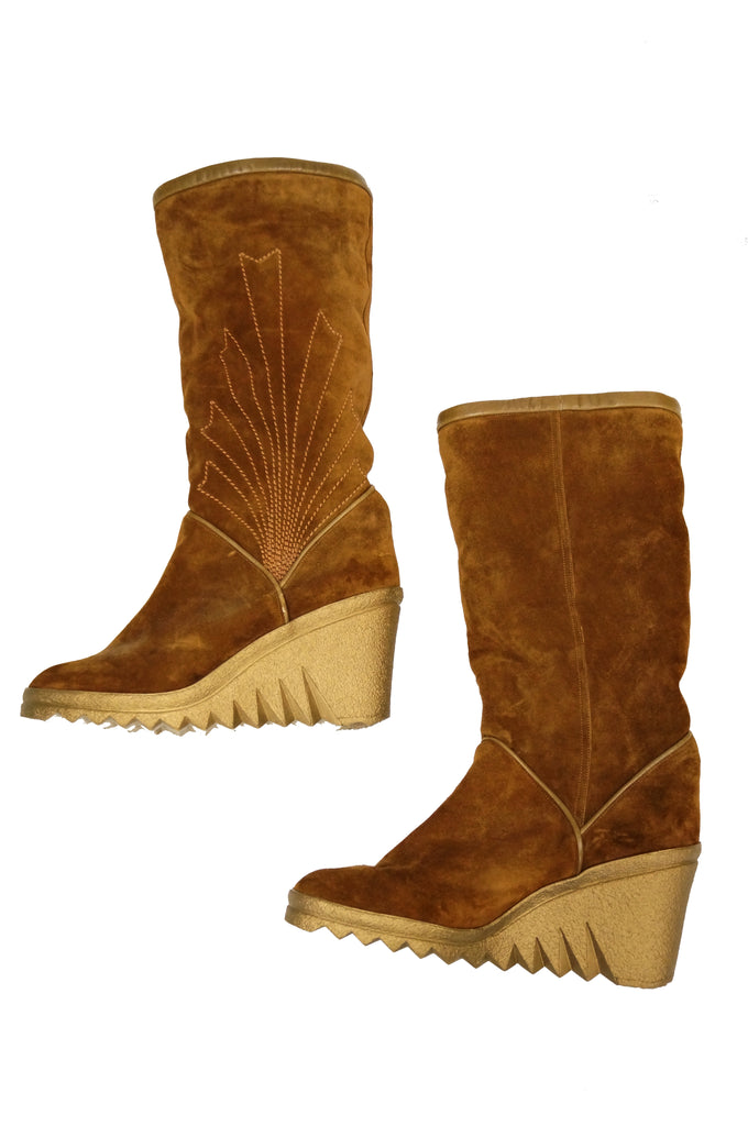 1970s Charles Jourdan Chestnut Suede Wedge Sunrise Stitch Boots