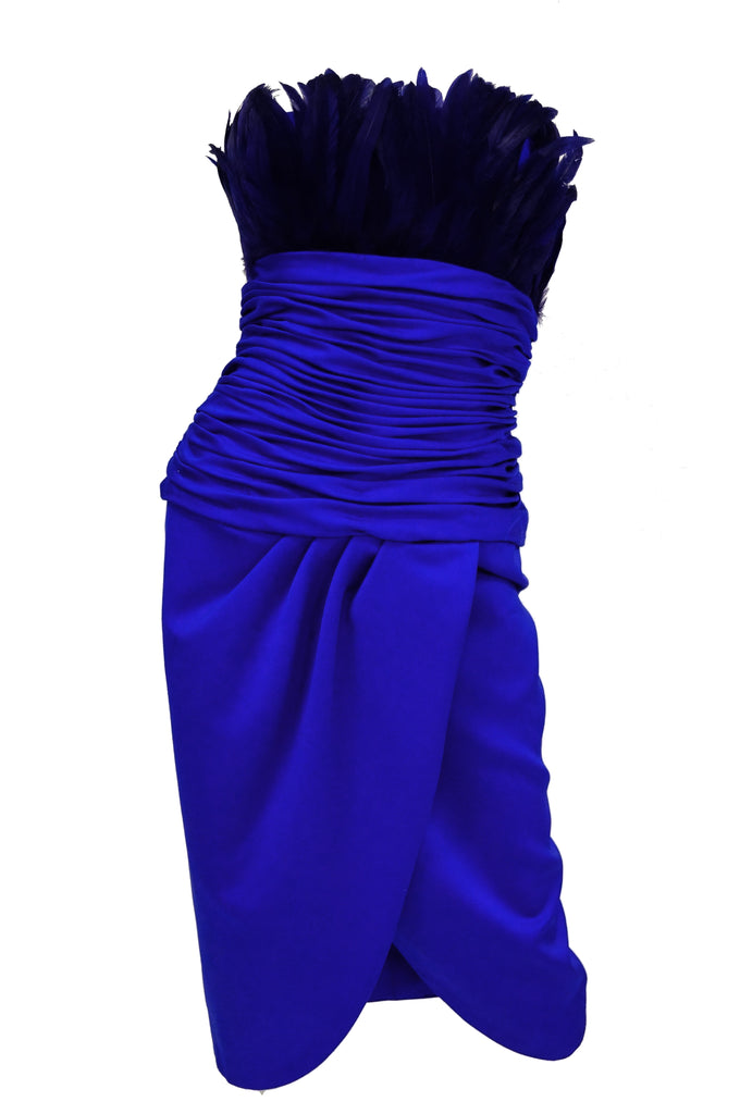 1980s Victor Costa Ultramarine Feather Cocktail Dress Size 2