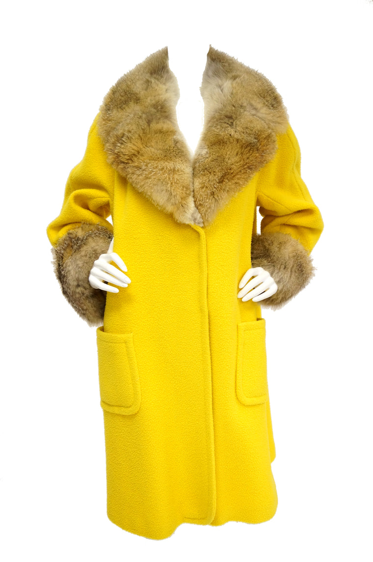 1960s Canary Yellow Boucle Wool Coat with Fox Fur Collar and Cuffs