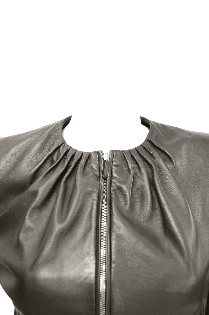 1980s Gianni Versace Bistre Brown Kidskin Leather Jacket